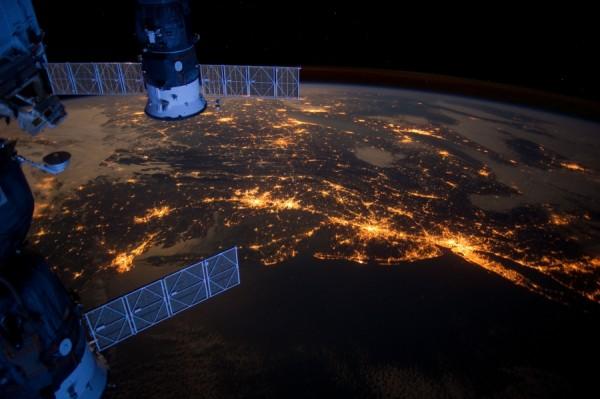 Costa Este de los USA desde la ISS en 2012 (se distinguen NewYork y Washington DC)